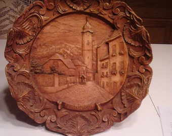 German Hand Carved Wood Plate