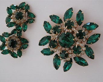 Vintage Rhinestone Brooch & Earrings * Emerald Green and Ice * Signed Judy Lee* Wedding, Holidays, Party, Evening, Dance, Celebration