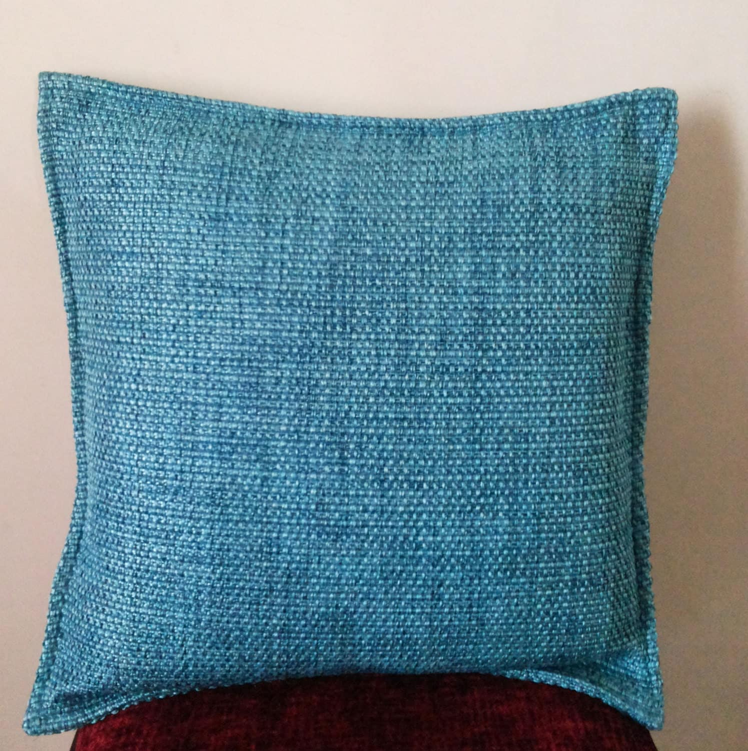 Throw Pillows Textured : Decorative Blue Throw Pillow 18x18 Cotton Textured Throw
