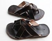 "Verkauf Mens dunkelblau Leder Sandalen Sommer griechischen Stil Sandalen aus echtem Leder Sandalen Leder Schuhe Flip-Flop COISAS ""Cabron"" CSLM015"
