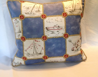 Nautical Sail Boat Pillow Covers with Rope Trim