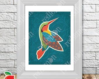 Secret Garden Green Hummingbird Nursery Print