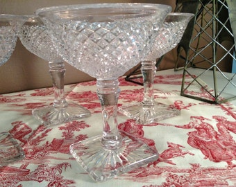 Four Westmoreland English Hobnail Clear Champagne glass with square base