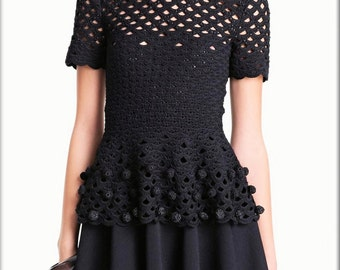 Crochet  Vintage-Inspired 1970s Black Top - Made to Order