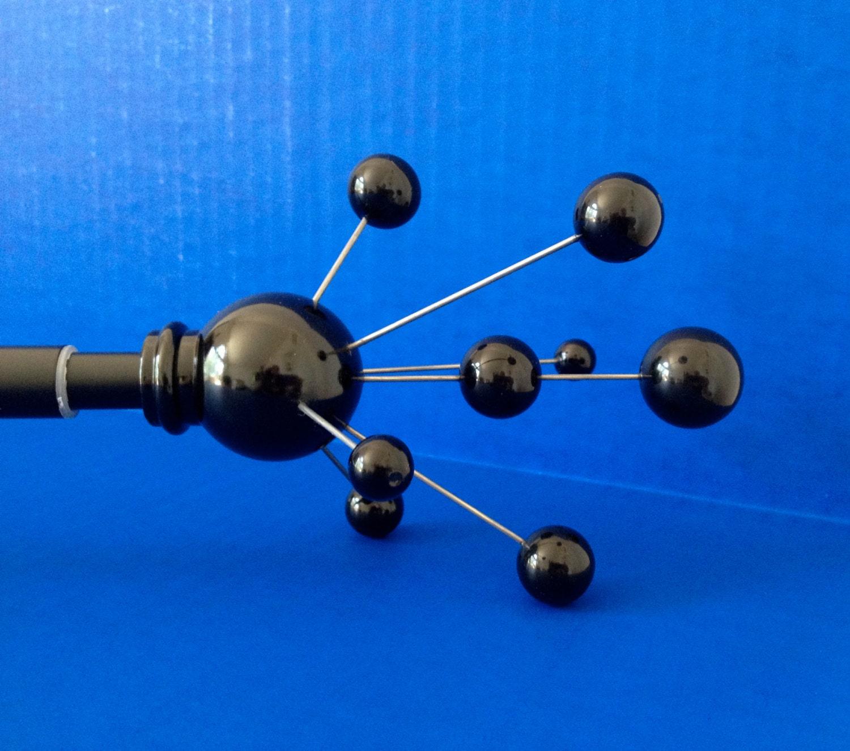 Custom Curtain Rod Black Atomic Splash Molecule Finials