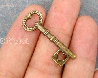 30pcs of Antique bronze tone key charms pendants 34x12mm