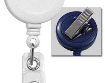 100 White Badge Reels w/ Vinyl Strap & Swivel Spring Clip | 2120-7608