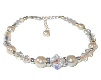 Swarovski Crystal and Pearl Bracelet CREAM and CLEAR AB Elements Sterling Silver