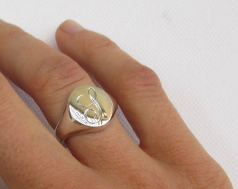 Sterling silver Signet ring with PERSONALISED engraved initial