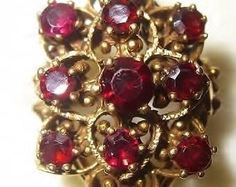 14K Gold Garnet Large Statement Ring Vintage