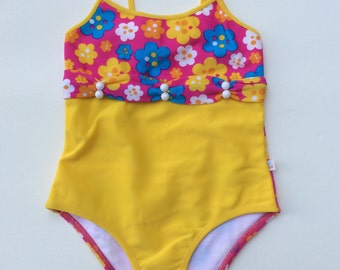 Yellow and Floral One-Piece Swimsuit (Childrens Size 4)