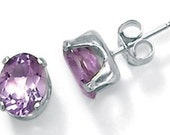 SALE Silver Amethyst Earrings Purple Stud Genuine 6mm Round 1.3 - 1.5 Ct.Natural Genuine Gemstone + Certificate