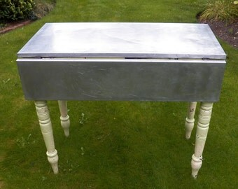 Victorian painted pine table with aluminium top