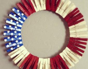 Patriotic Clothespin Wreath
