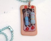 Vintage blue striped resistor recycled necklace poly clay steam punk geek