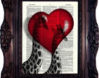 Valentine's Gift Giraffes in Love Dictionary art print Gift for Her Gift for Him Gift Anniversary Love Gfit Idea Giraffe Art Wall C:512