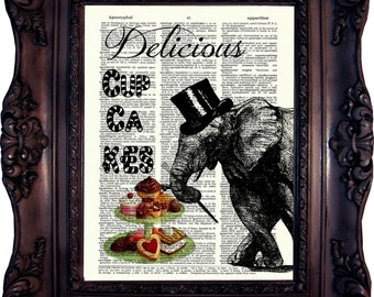 ELEPHANT Art Print on Vintage Book Page Cupcake Original Art VINTAGE Dictionary Page Antique BOOK Cupcakes Elephant Wall Art decor  Code552