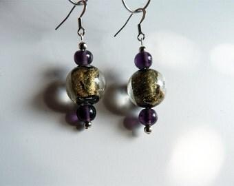 Dangly glass bead earrings