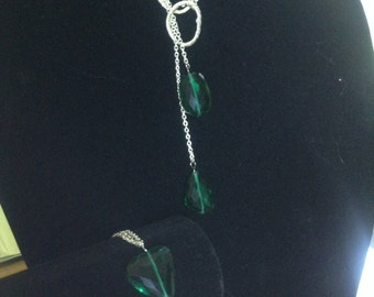 Necklace and Bracelet Emerald Green with Silver