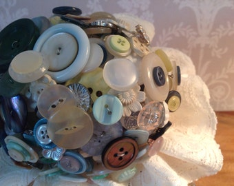 Button wedding bouquet -handmade -vintage