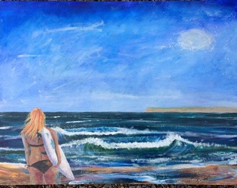 San Diego Surfer Girl-ORIGINAL ARTWORK