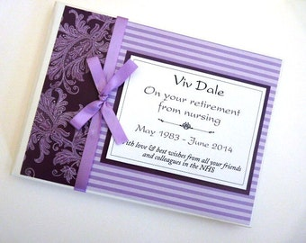 Personalised Purple Retirement/Wedding/Occassion Guest Book