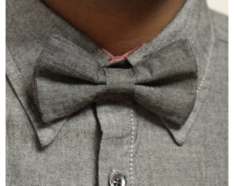 Bow Tie in Black/Blue/ Grey Hand Made with 100% Organic Cotton