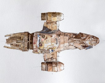Firefly Serenity Spaceship Watercolor Painting Print