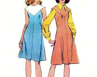"Simplicity 5502 Faux ""Quaker Collar"" Dress or Jumper 1973 / SZ12 UNCUT"