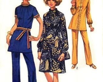 Simplicity 9085 Groovin' Hippie Dress or Tunic & Pants 1970 / SZ12 UNCUT
