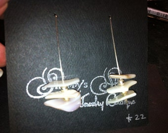 Sterling silver with mother of pearl dangle earrings