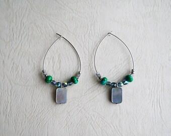 Turquoise And Shell, Big Hoop Earrings
