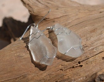 Frosted White Dangling Sea Glass Sterling Silver Earrings