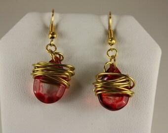 Red glass teardrop gold wire wrapped earrings,fishhooks, E226
