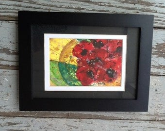 """Original watercolor painting, matted 5x7 unframed, hand-painted and signed by artist.  """"Poppies"""""""