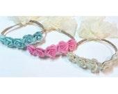 Mint Flower Crown * Handmade Felt Rose Tieback Headband for Newborns, Babies, Toddlers and Girls * Boho Wedding Flower Girl