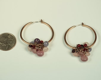 Hoop Earrings with Purple Stones
