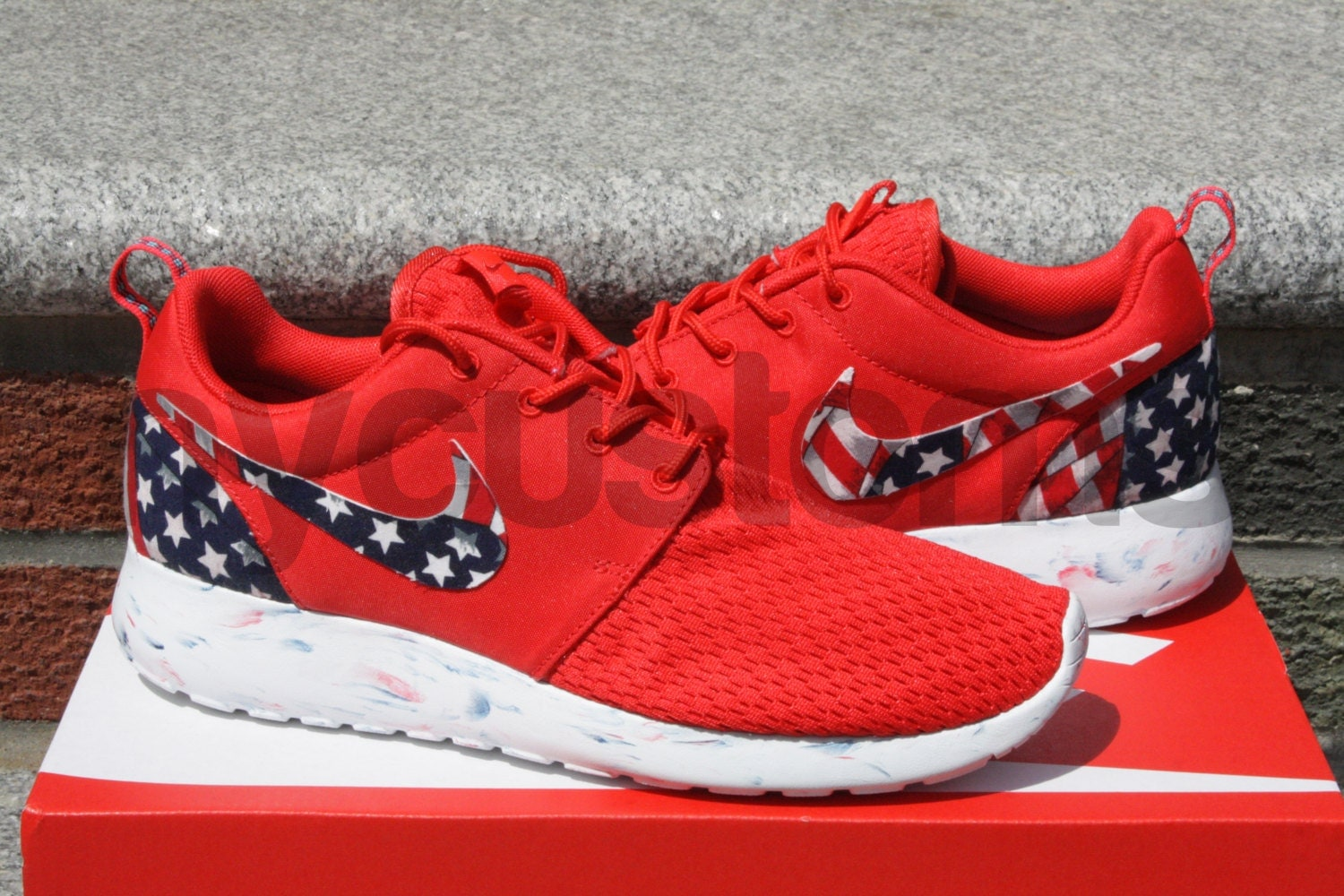 Custom Red Roshe Runs Limited stock nike roshe run red marble american