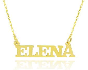 14K Yellow Gold Personalized Capital Name Necklace - Custom Made Any Name