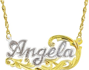 14K Two Tone Gold Personalized Name Plate Necklace - Style 8