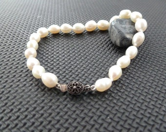 Vintage Hand Knotted Pearl Bracelet with Sterling Clasp