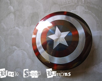 Captain America Pinback Button or Magnet or Keychain, Avengers Shield Badge, Marvel Captain America, Comic Book Buttons, Avengers Pin