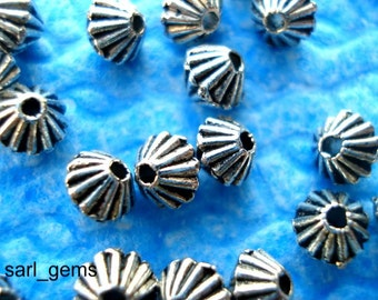 50 Tibetan Silver Corrugated Bicone Spacer Beads 4.5mm x 4mm