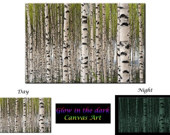 Glow in the Dark Canvas Wall Art - Birch Tree Forest - Ready to Hang