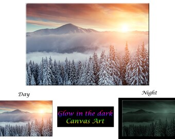 Glow in the Dark Canvas Wall Art - Snow Mountain Sunset - Ready to Hang