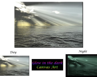 Glow in the Dark Canvas Art - Seascape Ocean Rays of Light - Ready to Hang