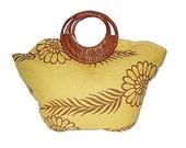 Sunshine flowers retro handbag with rattan handle