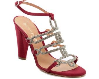 Royal jewel - Red satin heel sandal