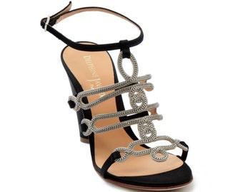 Royal jewel - black satin heel sandal
