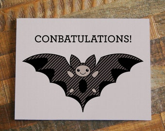Conbatulations Bat Greeting Card - Congratulations Animal Card - Funny Pun Humor Card - Wedding, Graduation, Accomplishment Card